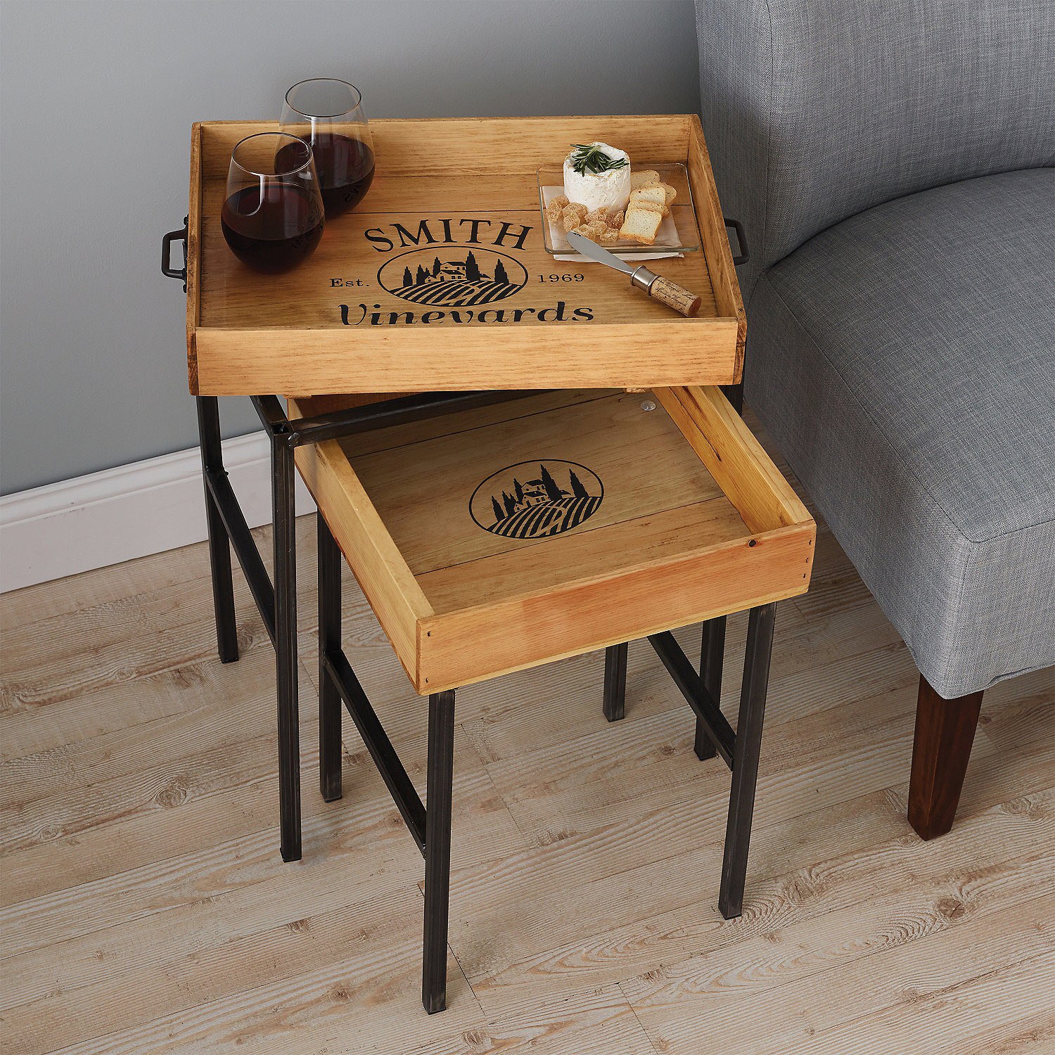 Tables wine furniture furniture wine enthusiast personalized wine crate tray nesting tables geotapseo Images