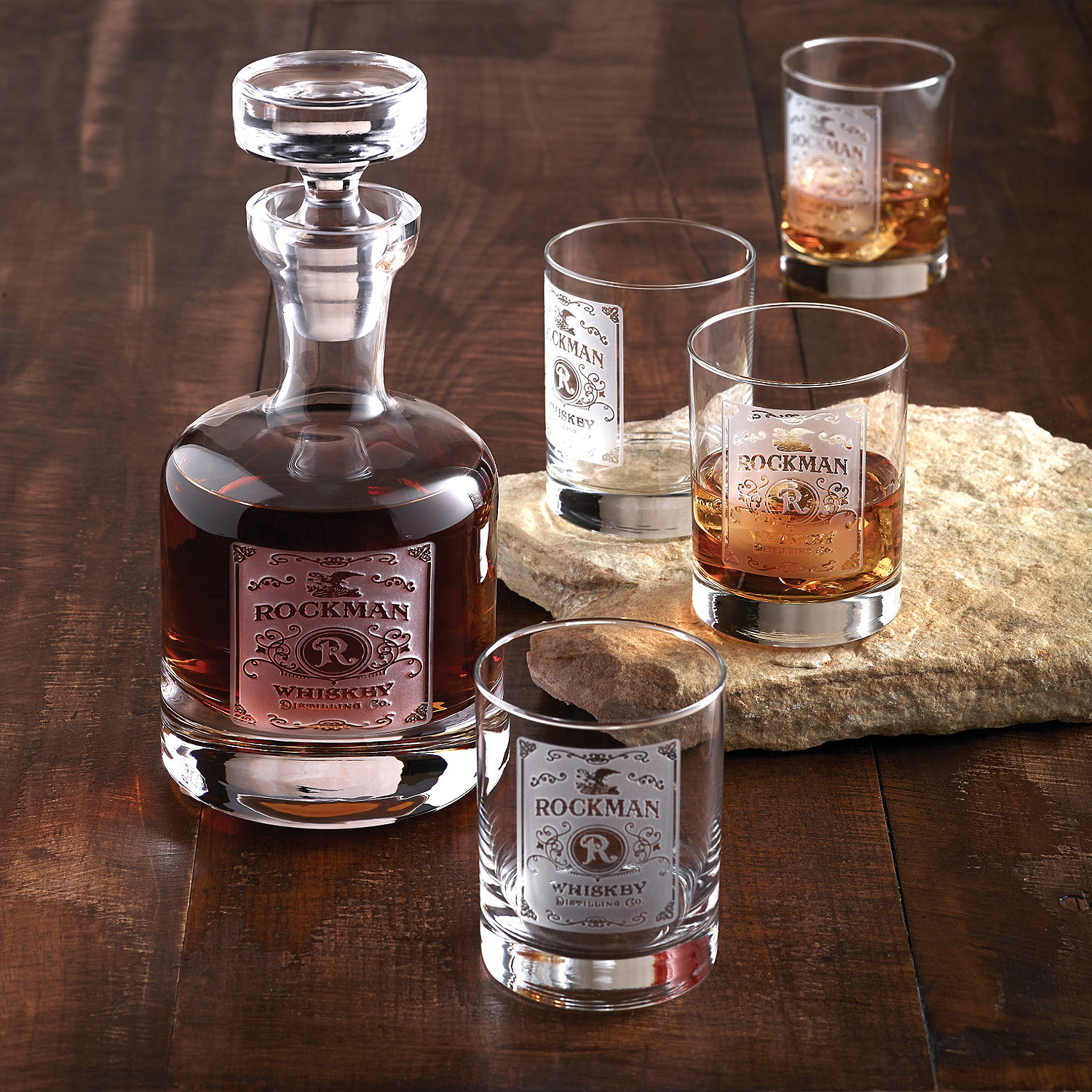 Personalized Etched Whiskey Label Decanter And Gles Set
