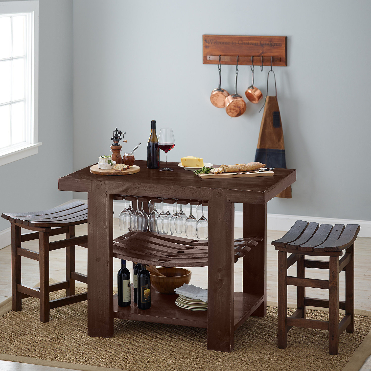 Napa Valley Kitchen Island and Stool Set Caramel Finish Wine
