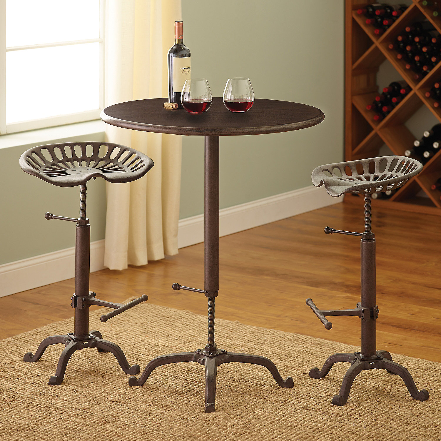 Industrial Pub Table and Tractor Stool Set - Wine Enthusiast