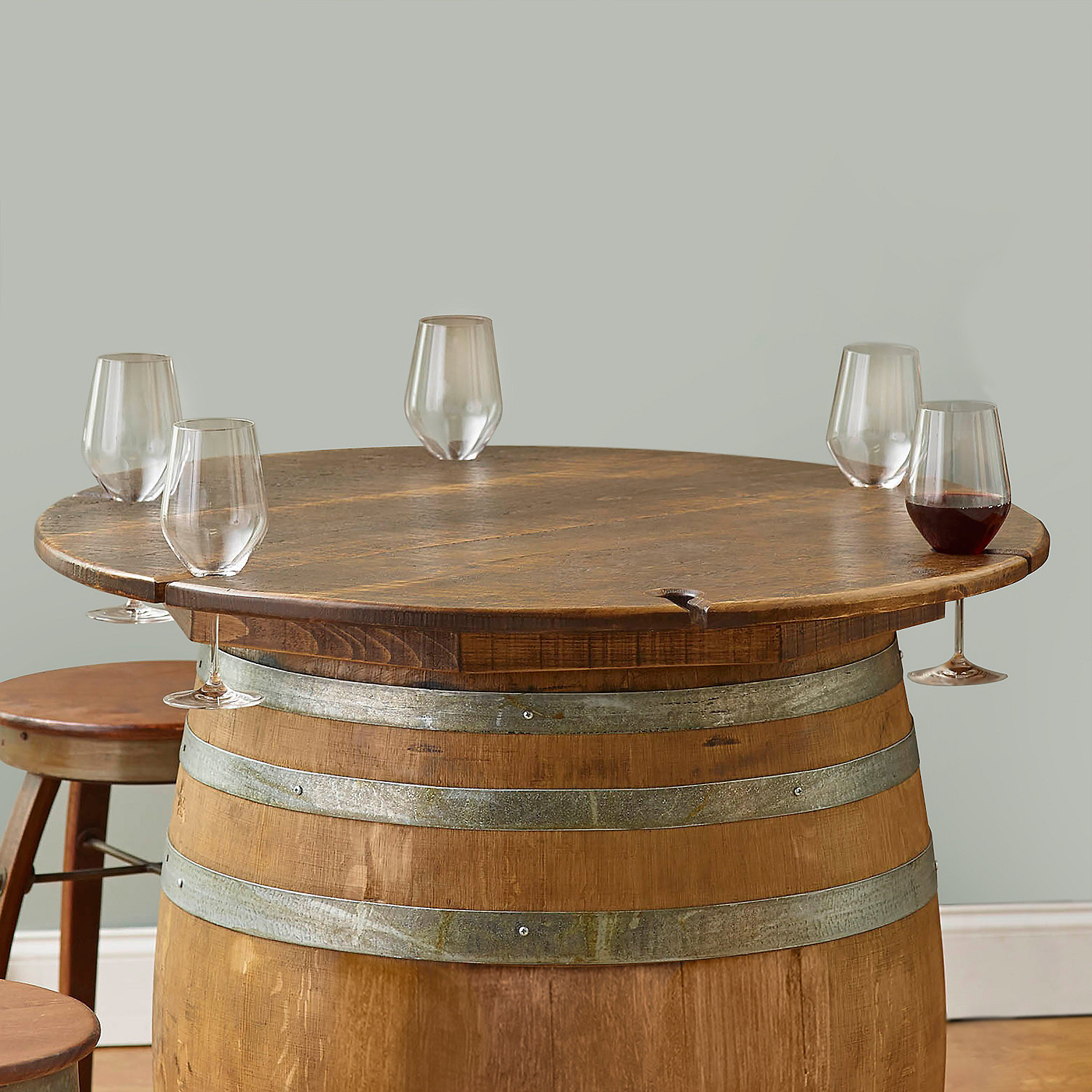 Table Top for Barrel with Glass Notches Wine Enthusiast