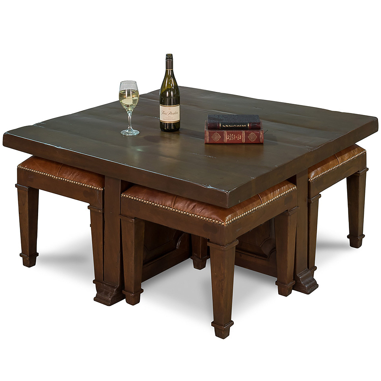 Coffee table with 4 nesting stools Wine Enthusiast