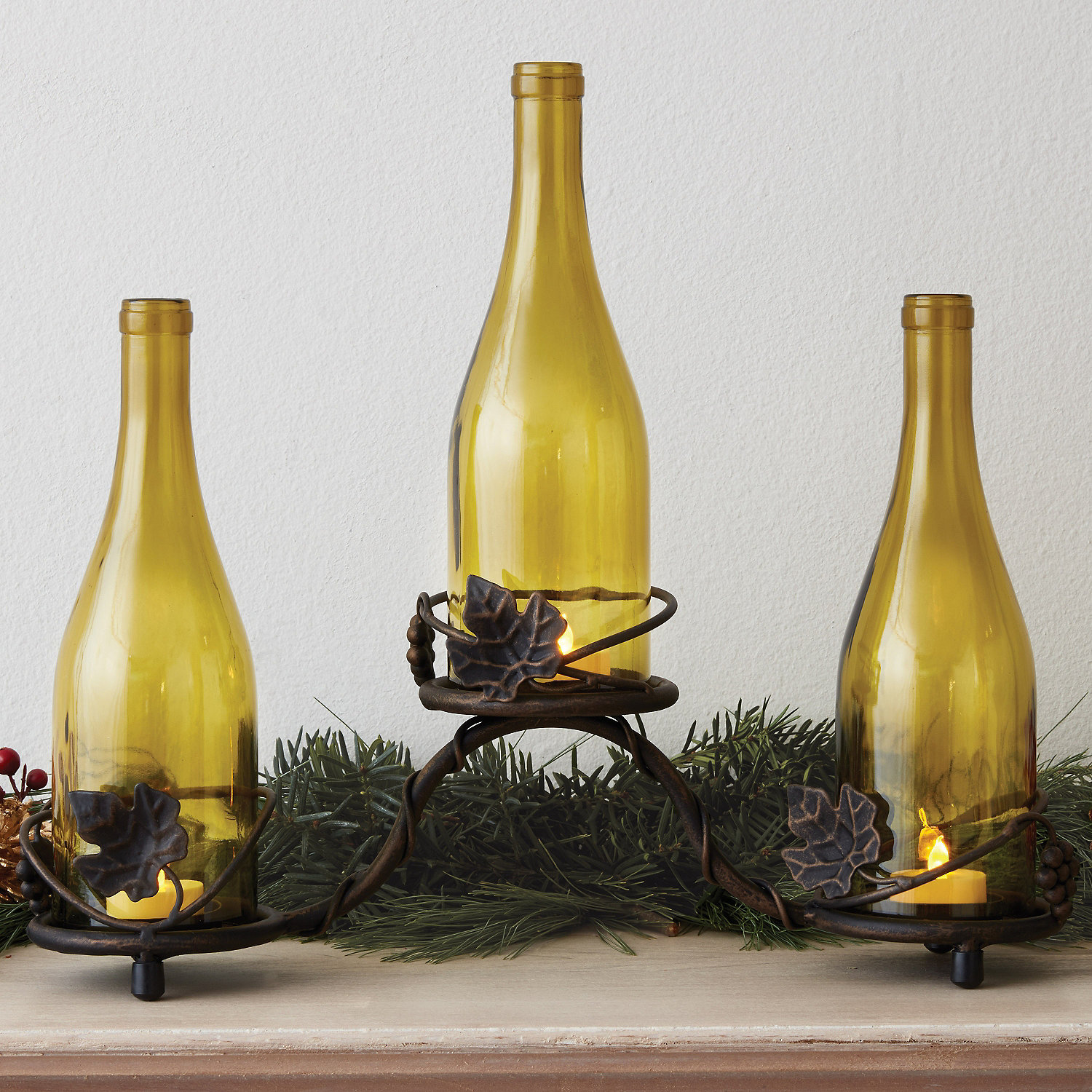 Grapevine Wine Bottle Candle Holder - Wine Enthusiast