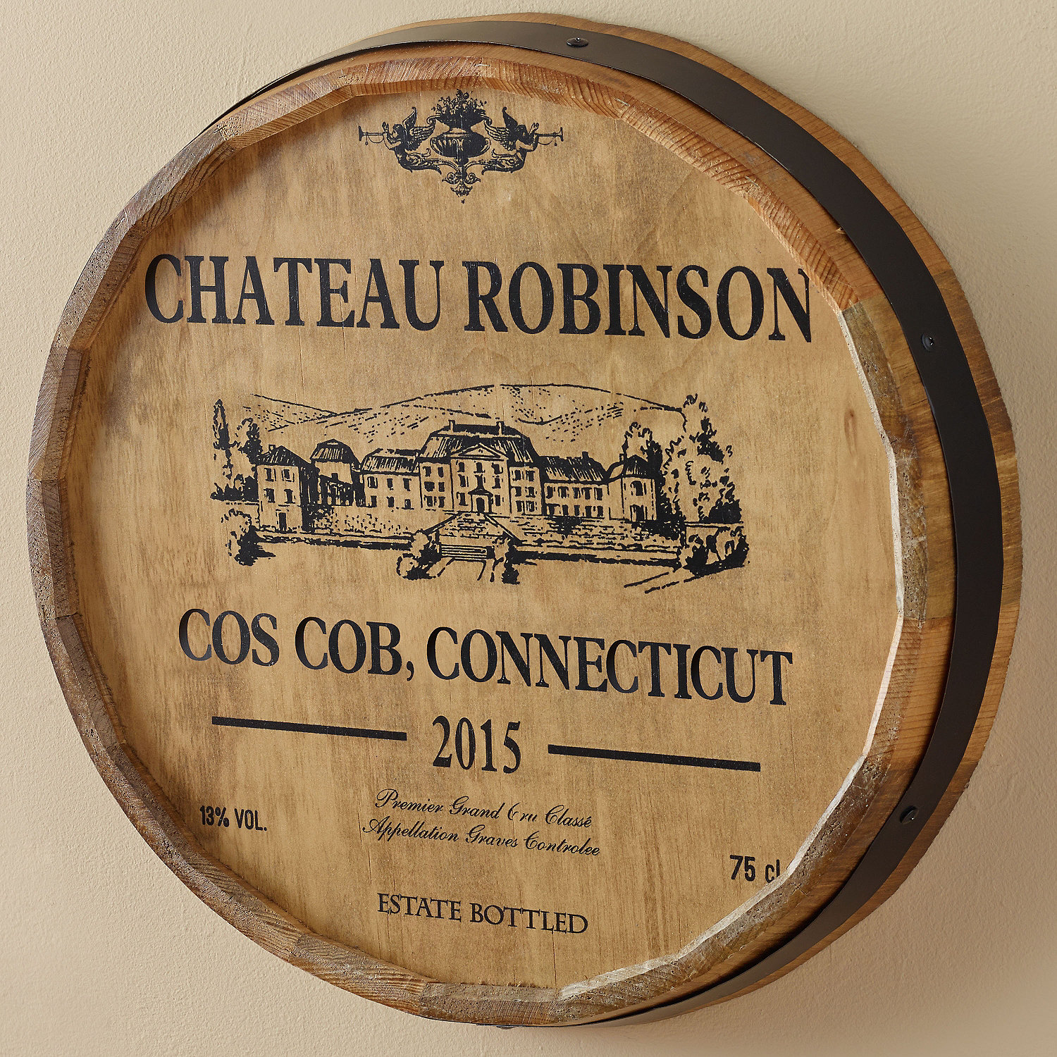 Wine Barrel Wall Decor personalized chateau barrel head sign - wine enthusiast