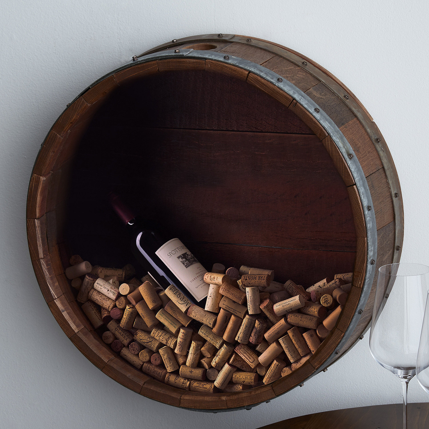 Wine Barrel Wall Decor reclaimed wine barrel head cork collectors display - wine enthusiast