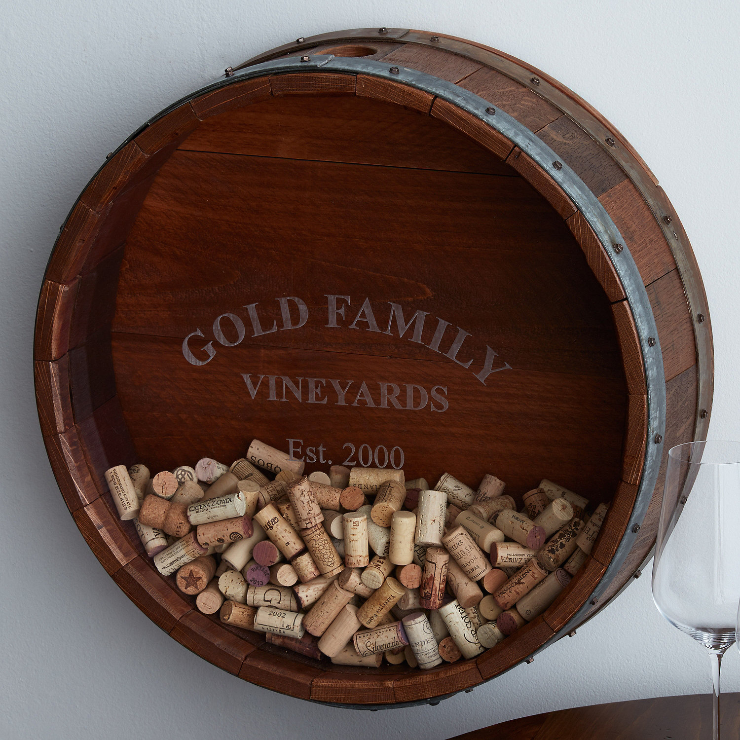 Wine Cork Holder Wall Decor personalized reclaimed wine barrel head cork collectors display