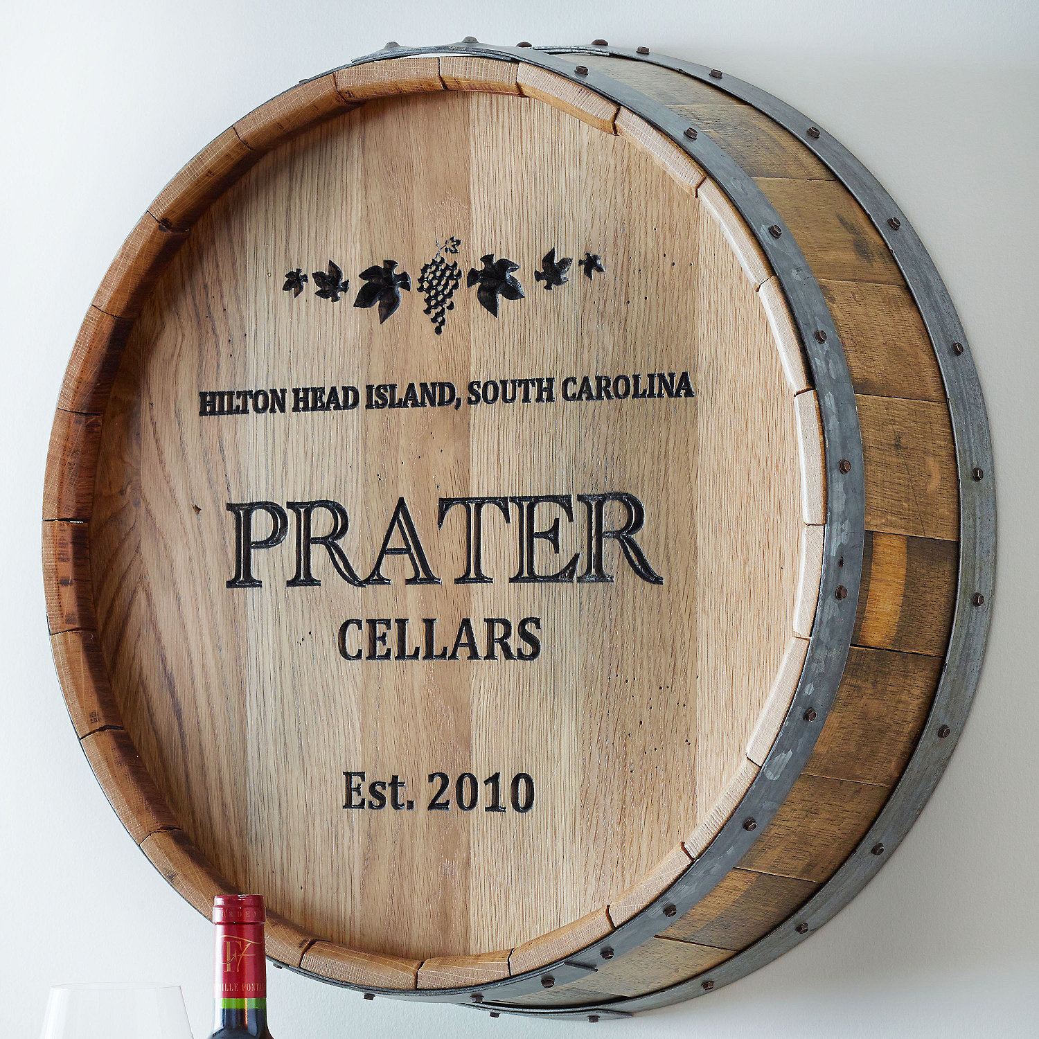 Personalized Deep Carved Quarter Barrel Head - Wine Enthusiast