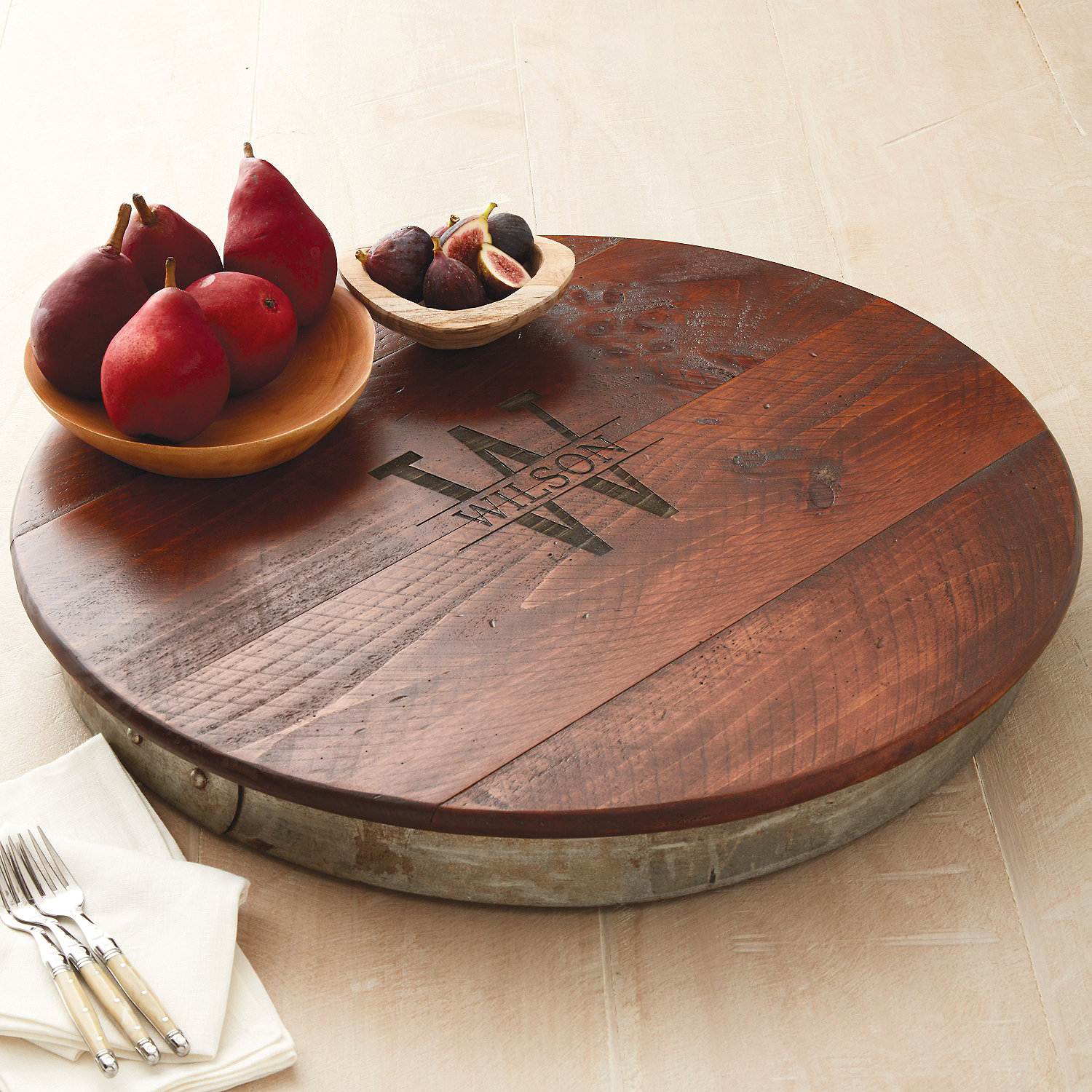 raised wine barrel lazy susan with name u0026 single initial