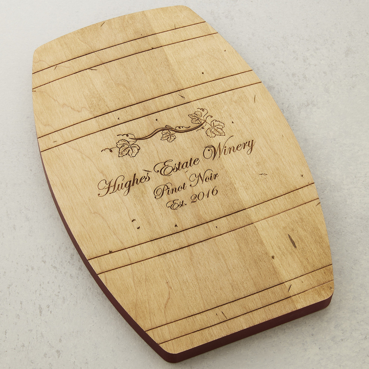 Personalized Wine Barrel Cheese Board - Wine Enthusiast