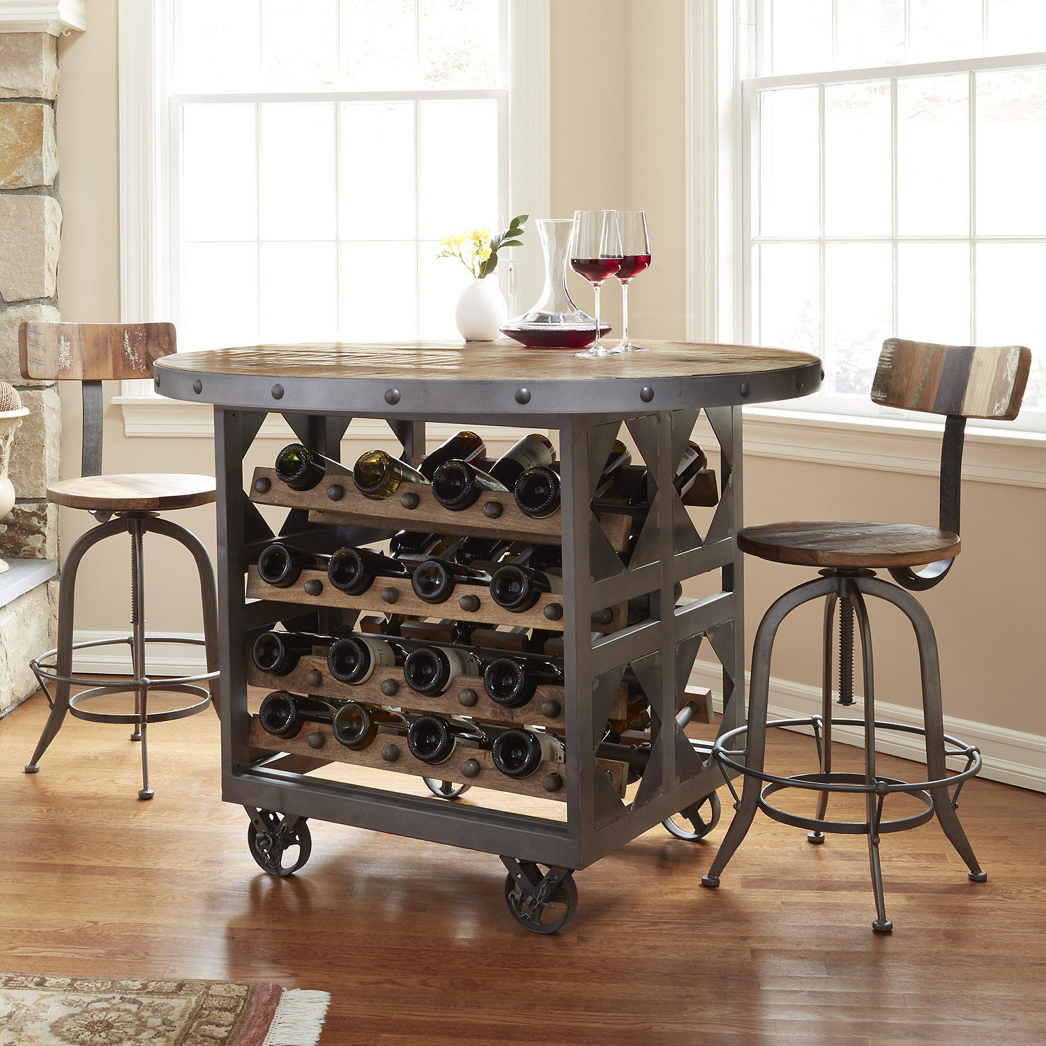 Repurposed Industrial Wine Storage Pub Table with 2 Stools Wine