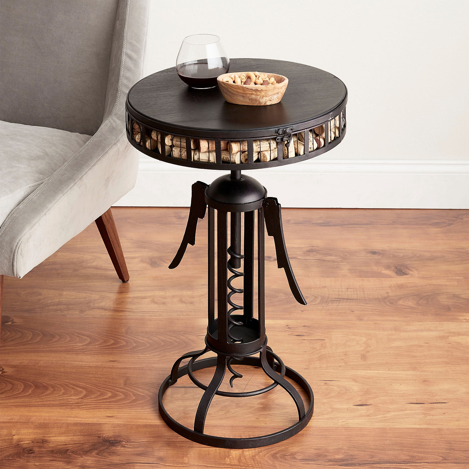 Winged Corkscrew Cork Catcher Accent Table Wine Enthusiast