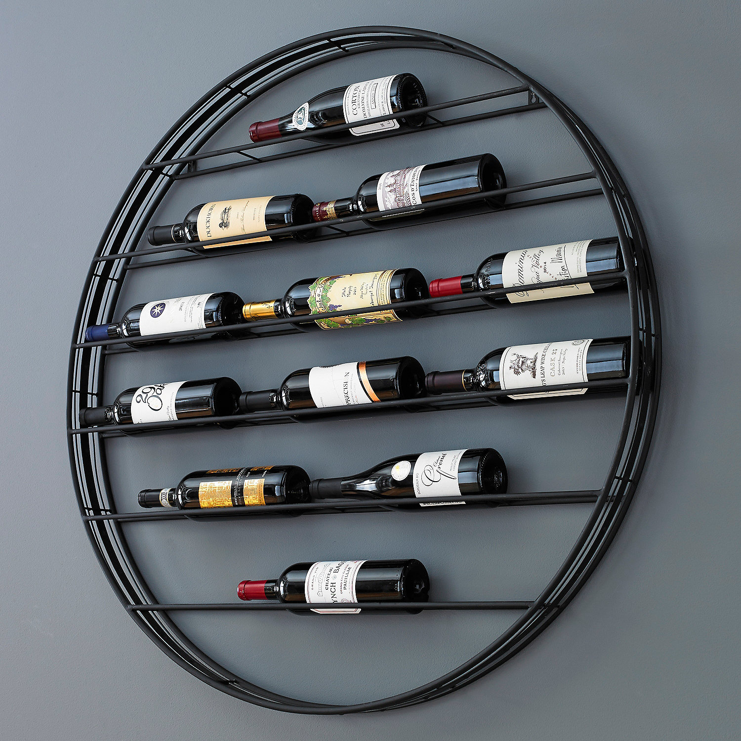 12-Bottle Label View Wall Wine Rack - Wine Enthusiast
