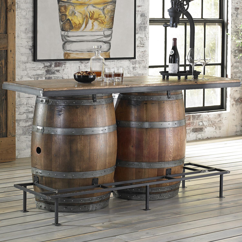 Furniture Vintage Double Half Barrel Bar Preparing Zoom