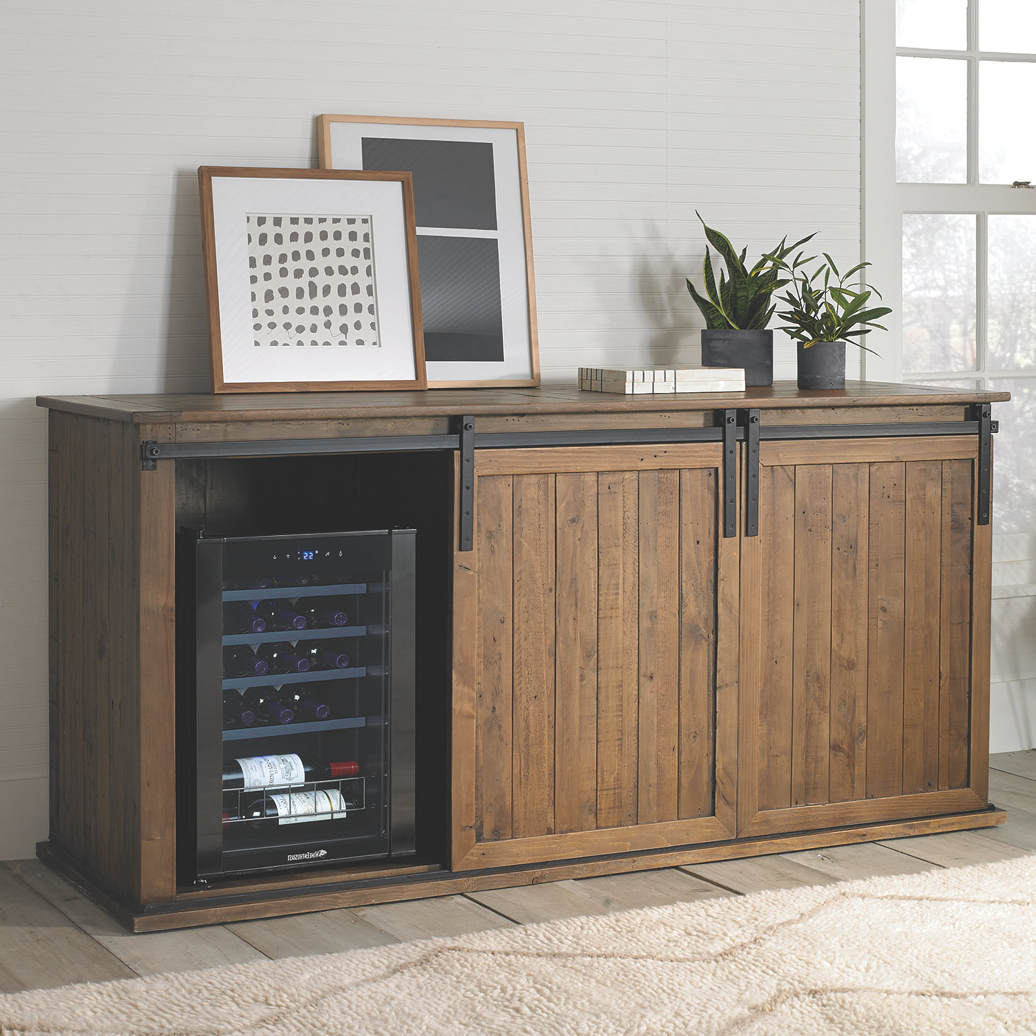 mesa sliding barn door credenza with wine