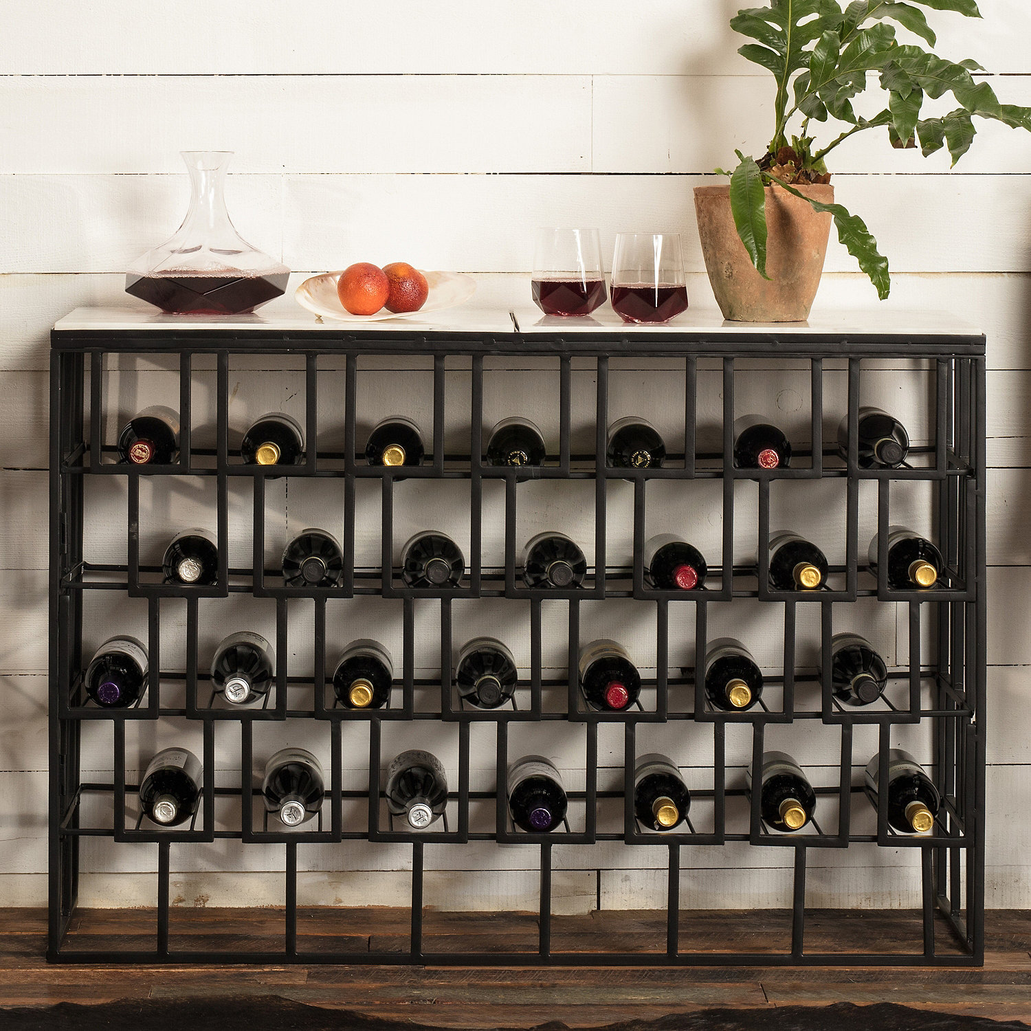 Marble Top Wine Storage Console Table Wine Enthusiast