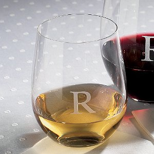Personalized Riedel 'O' Chardonnay/Viognier Stemless Wine Glasses