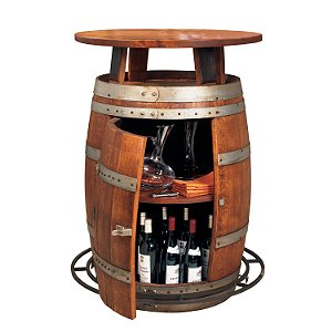 Vintage Oak Outdoor Wine Barrel Bistro Table (Weatherized)