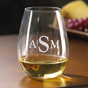 Monogrammed Wine Enthusiast U Chardonnay Stemless Wine Glasses