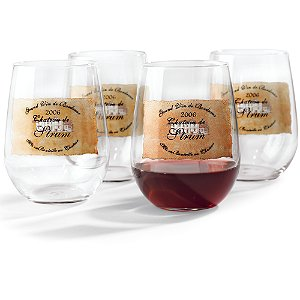 Personalized Estate Stemless Wine Glasses (Set of 4)