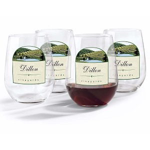 Personalized Vineyards Stemless Wine Glasses (Set of 4)