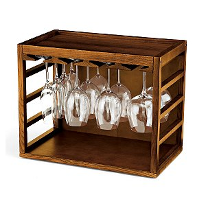 Cube-Stack Wine Glass Rack (Walnut Stain)