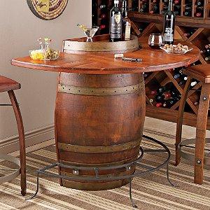 Vintage Oak Half Wine Barrel Bar