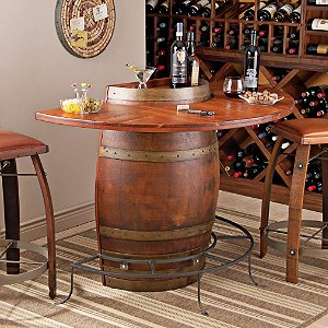 Vintage Oak Half Wine Barrel Bar & Stools