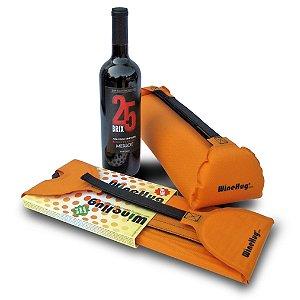 WineHug Self-Inflating Protective Travel Pouch (Orange)