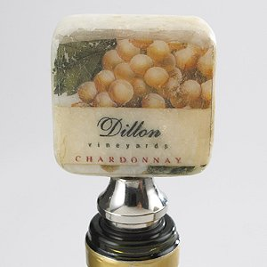 Personalized Chardonnay Italian Marble Bottle Stopper