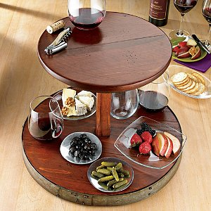 2-Tier Wine Barrel Lazy Susan