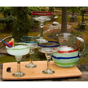 Colorful Bands Mexican Margarita Glasses and Pitcher
