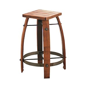 Vintage Oak Wine Barrel Bar Stool