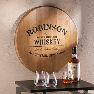 Authentic Barrel Head Wall Plaque With Personalized Whiskey