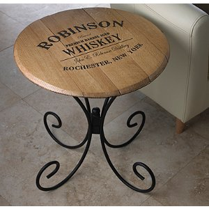 Authentic Barrel Head End Table With Personalized Whiskey