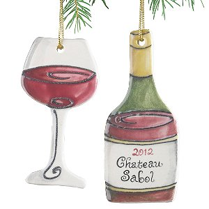 Personalized Red Wine Bottle and Wine Glass Ornament