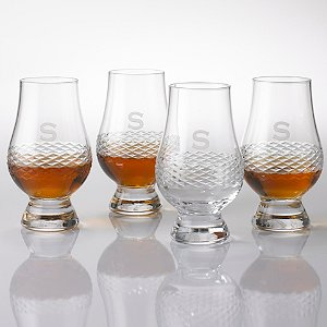 Personalized Glencairn Whiskey Glasses with Diamond Band (Set