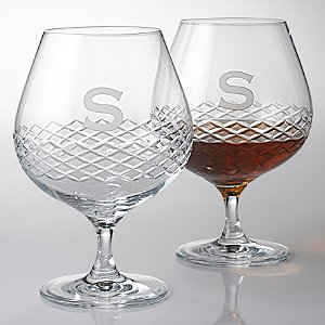 Personalized Brandy Glasses with Diamond Band (Set of