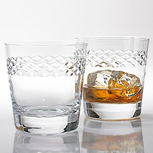 Double Old Fashioned Glasses With Diamond Band (Set