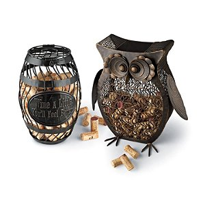 Owl and Wine Barrel Cork Catcher Set