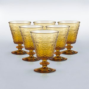 Italian Provenzale Amber Short Stem Glasses (Set of