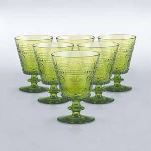Italian Provenzale Green Short Stem Glasses (Set of
