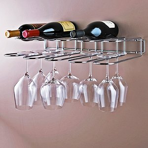 Chrome Wine Bottle and Stemware Rack