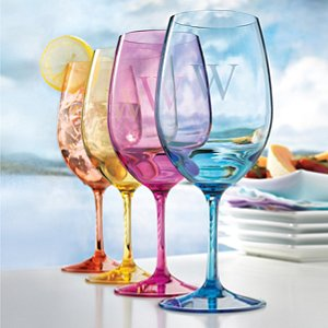 Personalized Indoor/Outdoor Mixed Color Wine Glasses (Set of