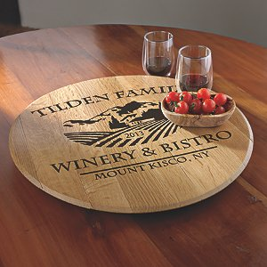 Personalized American Oak Chateau Lazy Susan