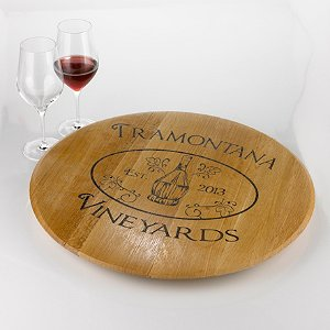 Personalized Chianti Lazy Susan with Chianti Fiasco Basket