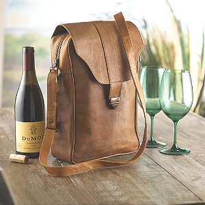 Genuine Leather 2-Bottle Wine Saddle Bag