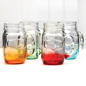 Mason Jar Glasses Mixed Colors (Set of 4)