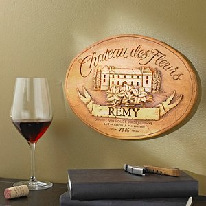 Personalized Chateau des Fleurs Label Wall Plaque (Brown)