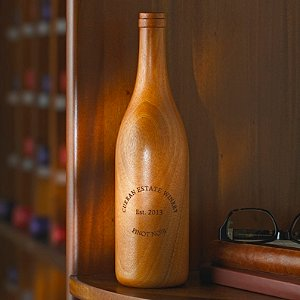 Personalized Wooden Wine Bottle Burgundy (Finished)