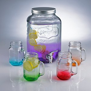 Mason Jar Dispenser and Mixed Colors Jar Glasses